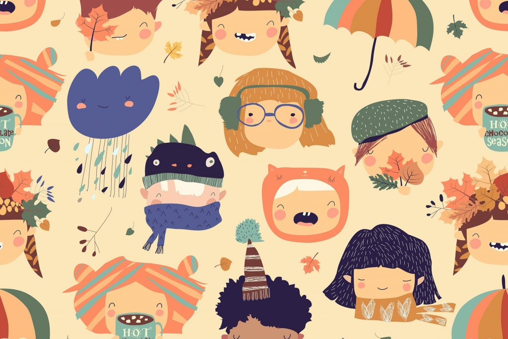 Vector Seamless Pattern with Cute Kids Faces with (AI, EPS, JPG, PNG) - Ngcloudy.com